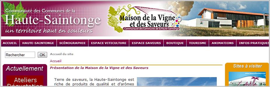 Site internet de la maison de la Vigne